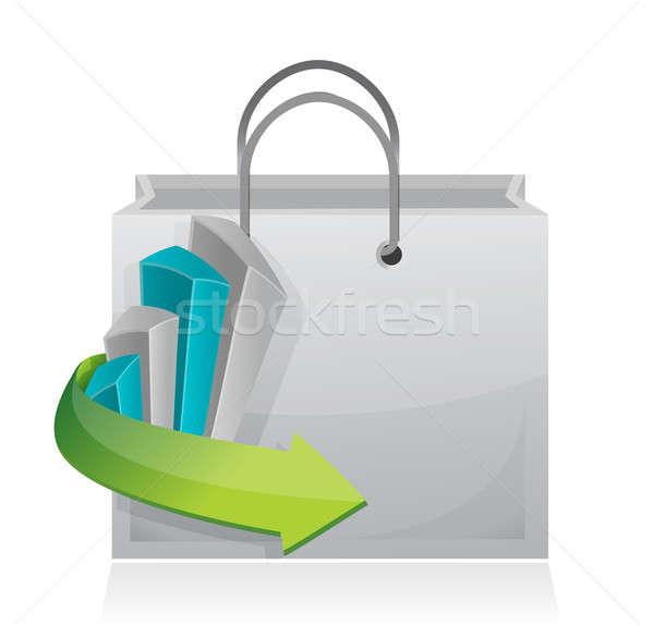 Grafico di affari shopping bag illustrazione design bianco costruzione Foto d'archivio © alexmillos