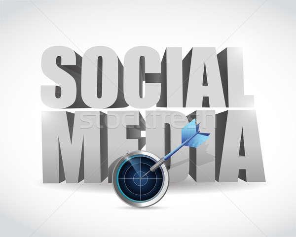 Cel radar social media ilustracja projektu biały Zdjęcia stock © alexmillos
