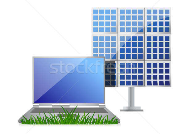 green it concept with laptop and solar cell panel illustration d Stock photo © alexmillos