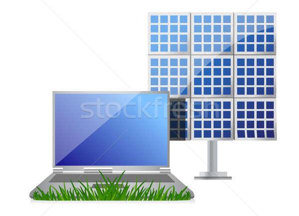 Groene laptop zonne cel paneel illustratie Stockfoto © alexmillos