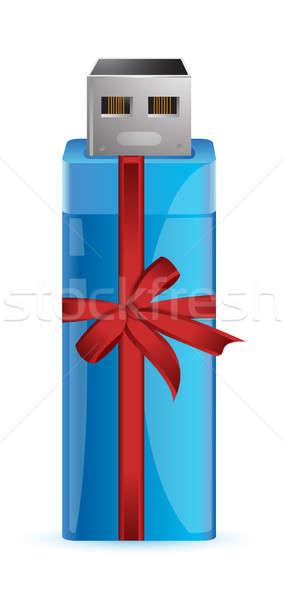 Usb flash drive dar kolorowy wstążka ilustracja Zdjęcia stock © alexmillos