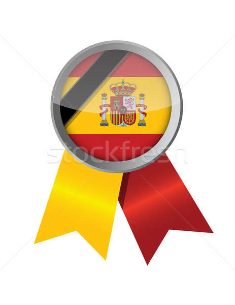 Spanje spaans lint vlag illustratie ontwerp Stockfoto © alexmillos