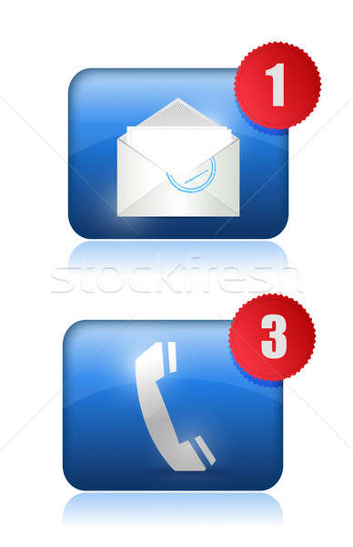 Call Us and email us inbox illustration design over white Stock photo © alexmillos