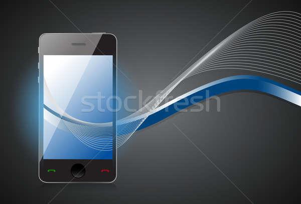 Сток-фото: смартфон · синий · волны · экране · изолированный · темно