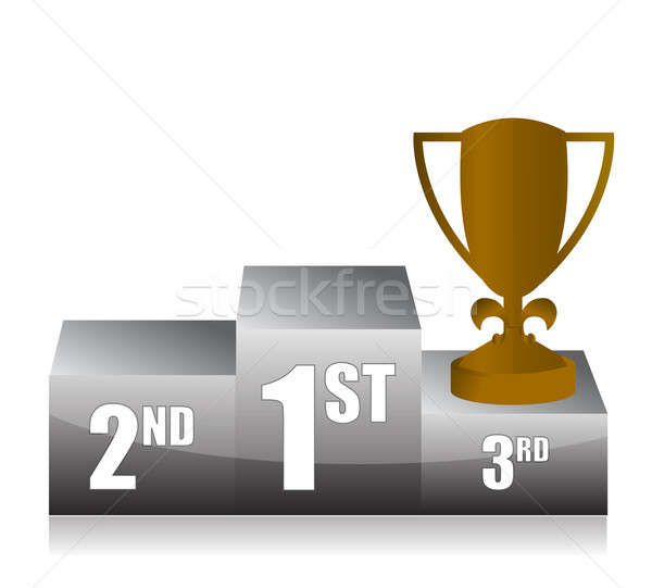 bronze trophy cup 3rd place illustration design Stock photo © alexmillos