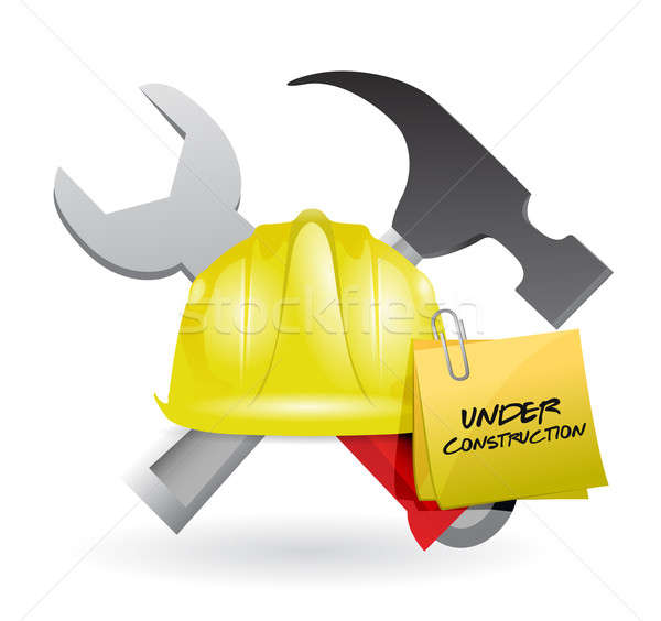Post it under construction sign  Stock photo © alexmillos