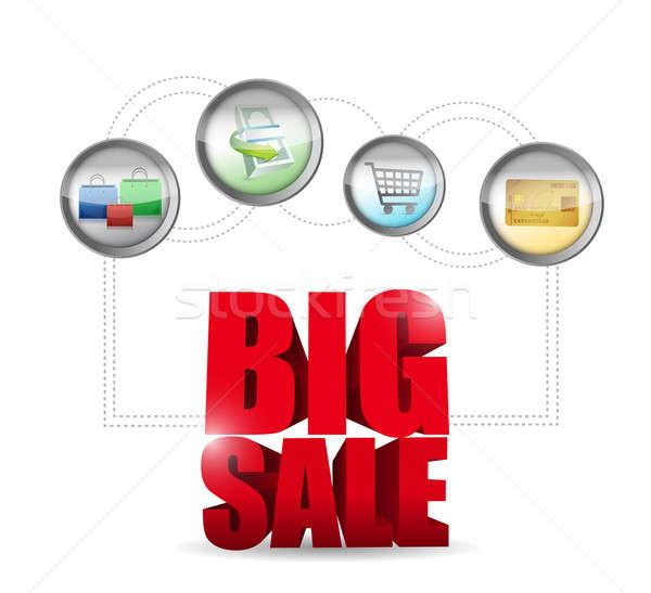 Groot verkoop commerce teken illustratie ontwerp Stockfoto © alexmillos
