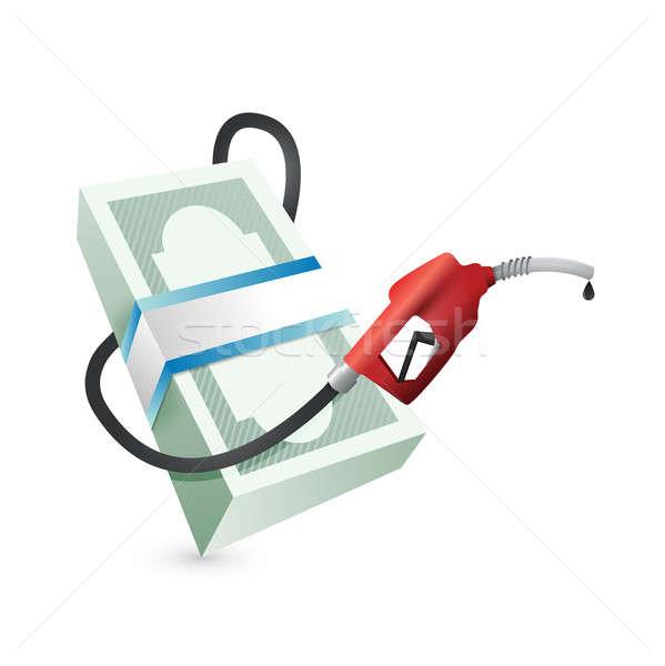 Stock fotó: Benzin · árak · illusztráció · terv · pénz · papír