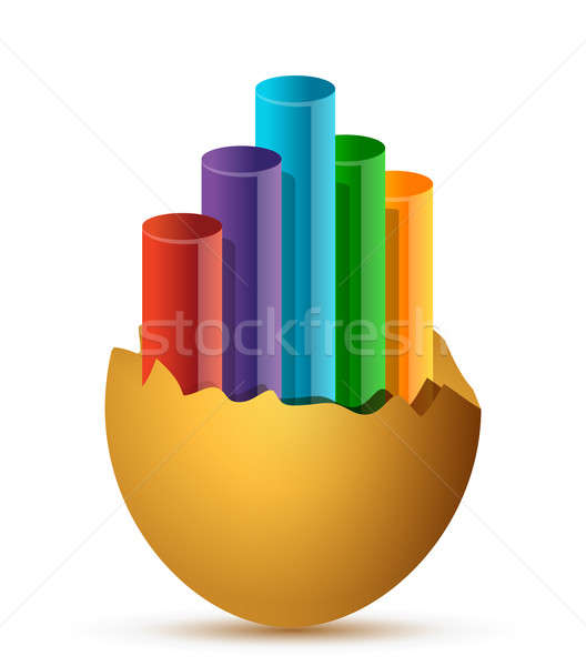Foto stock: Colorido · negócio · crescimento · gráfico · quebrado · ovo