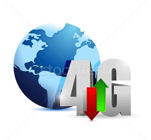 4g conexão em torno de globo ilustração projeto Foto stock © alexmillos