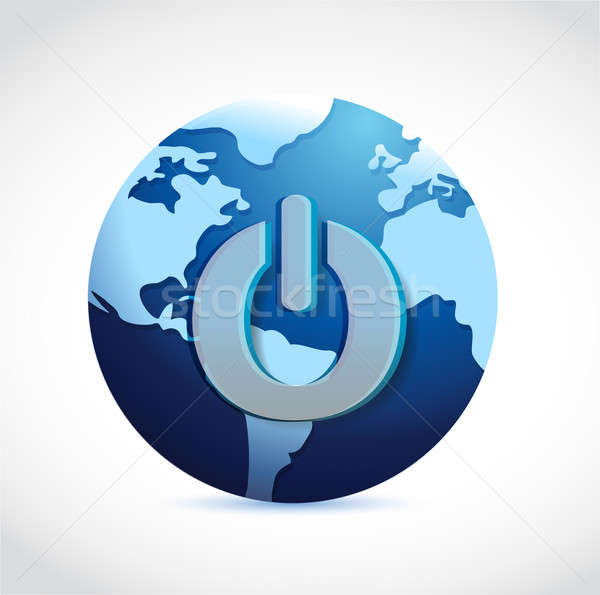 power button with the world on a white background Stock photo © alexmillos
