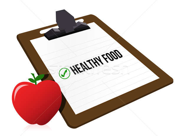 Clipboard with marked checkbox 'Healthy food' Stock photo © alexmillos