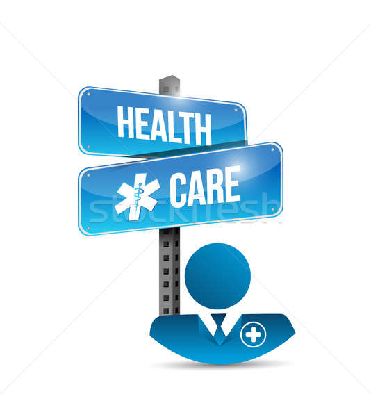 health care doctor and street sign. isolated Stock photo © alexmillos