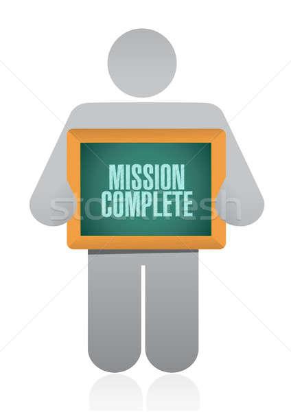 Küldetés teljes emberek felirat illusztráció terv Stock fotó © alexmillos