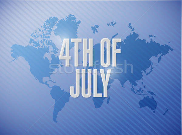 4th of July world map sign concept Stock photo © alexmillos