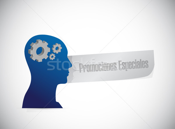 special promotions in Spanish thinking brain sign Stock photo © alexmillos