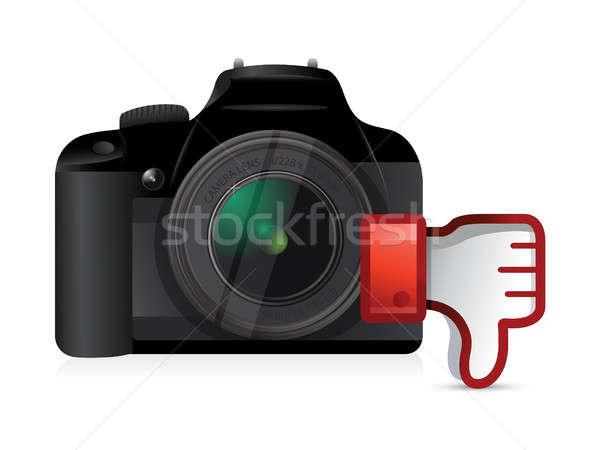 Fotocamera giù antipatia illustrazione design Foto d'archivio © alexmillos