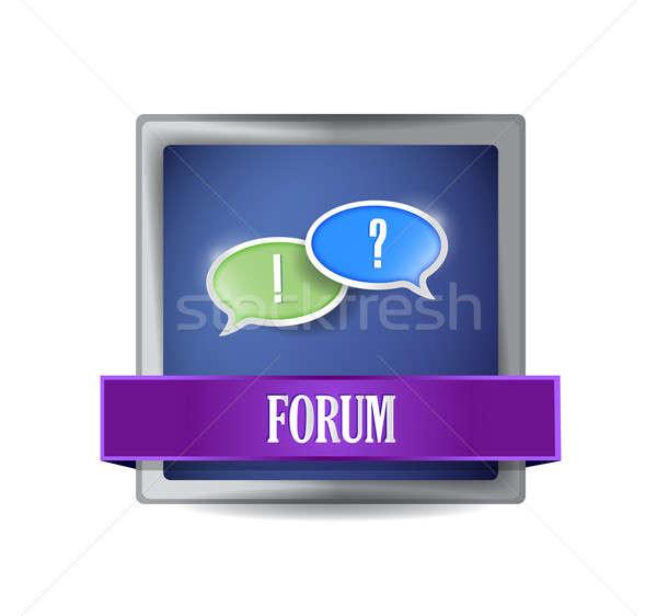 Forum icône bouton illustration design blanche Photo stock © alexmillos