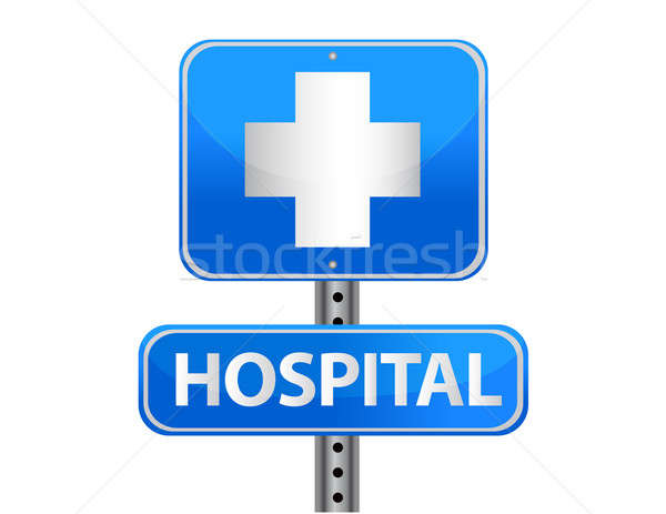 Hospital street sign on a white background Stock photo © alexmillos