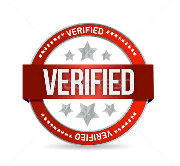 verified seal stamp illustration over a white background Stock photo © alexmillos