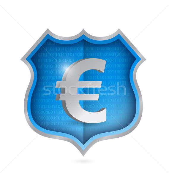 euro security shield illustration design over white Stock photo © alexmillos