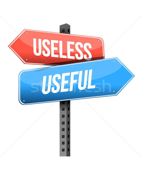 useless, useful road sign illustration design over a white backg Stock photo © alexmillos
