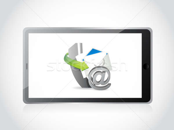 contact us set tablet illustration design over a white backgroun Stock photo © alexmillos