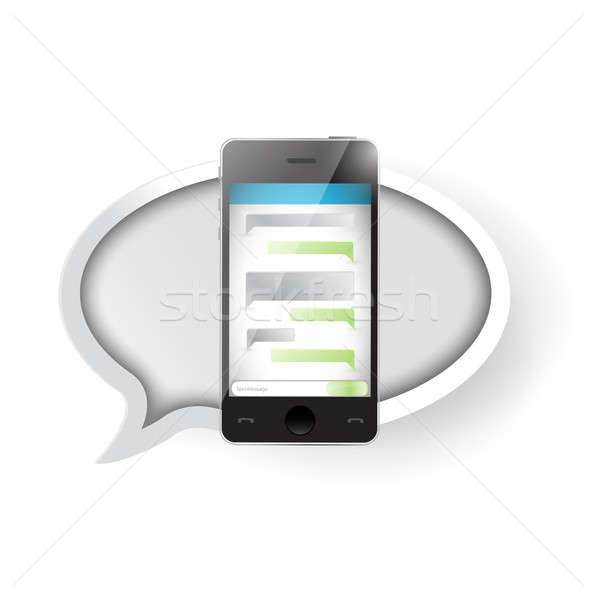 text message communication on a smartphone. illustration design  Stock photo © alexmillos