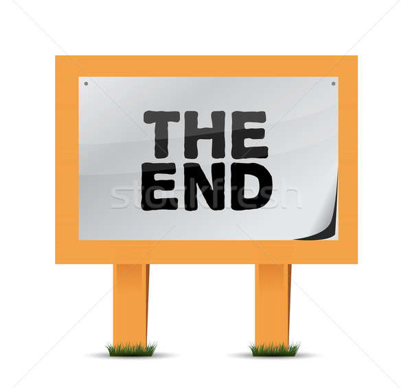 the end wood sign illustration design over a white background Stock photo © alexmillos