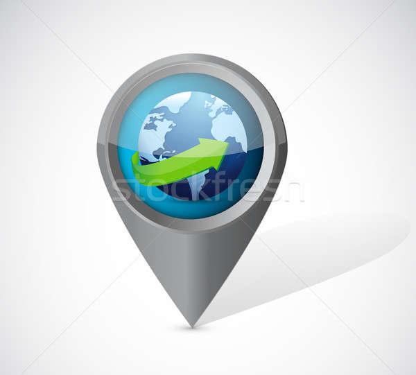 globe pointer illustration over a white background Stock photo © alexmillos