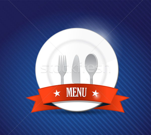 Menu restaurant with plate illustration design over blue Stock photo © alexmillos