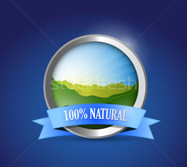 eco friendly 100 percent natural seal illustration design graphi Stock photo © alexmillos