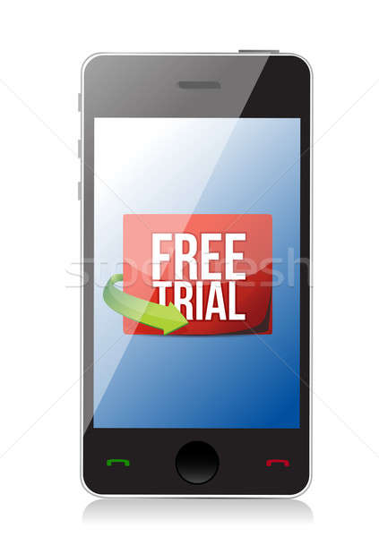 phone free trial message illustration design over white Stock photo © alexmillos