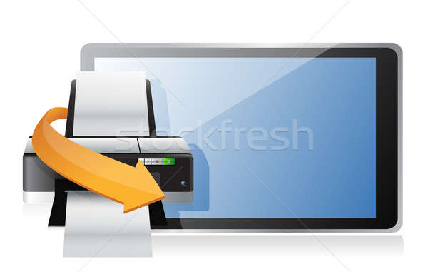 printer and a modern tablet illustration design over white Stock photo © alexmillos