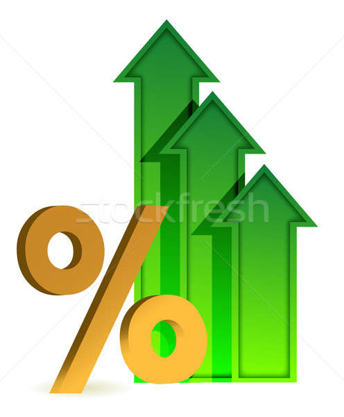 Arrows going up and percentage symbol Stock photo © alexmillos
