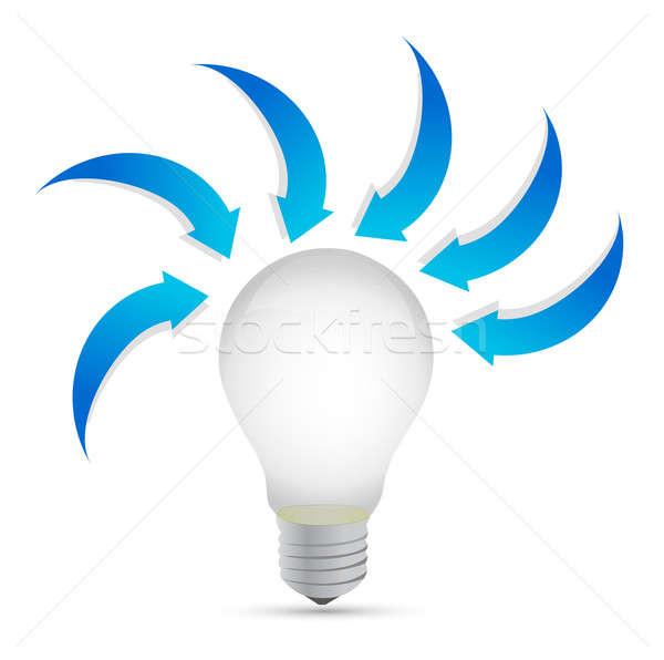 Lightbulb with arrows around. illustration design Stock photo © alexmillos