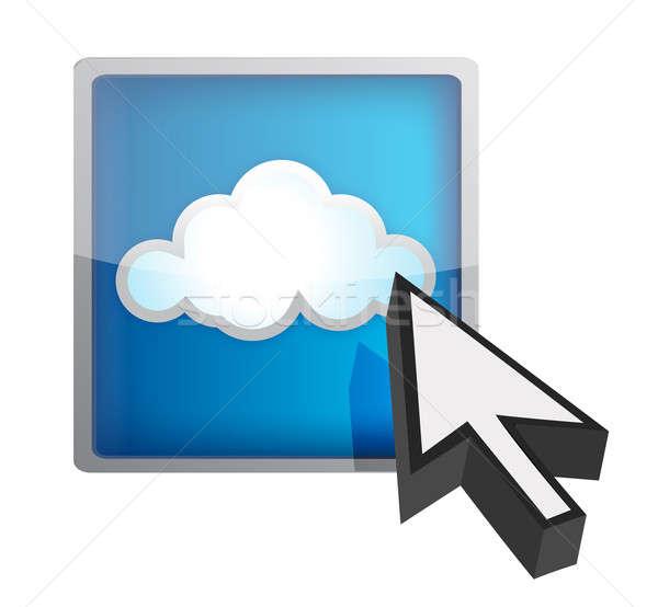 Blue cloud computing icon Stock photo © alexmillos