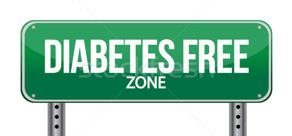 Diabetes Free Zone Green Road Sign Stock photo © alexmillos