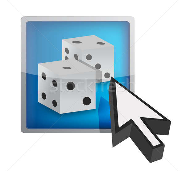 Button with dices. gaming concept  Stock photo © alexmillos