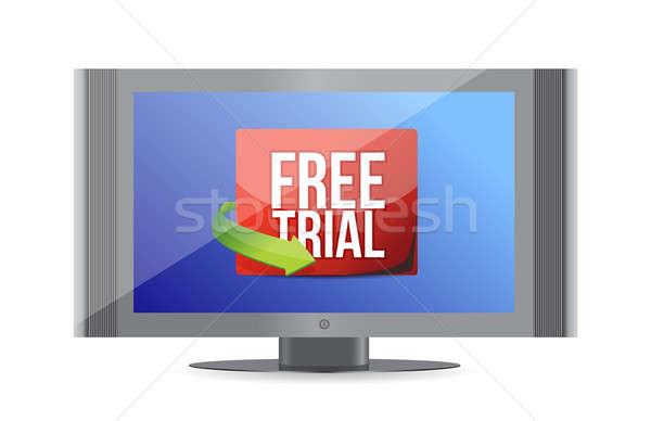 Free trial arrow label on screen  Stock photo © alexmillos