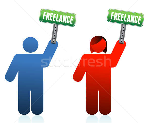 Male and female freelancer signs  Stock photo © alexmillos
