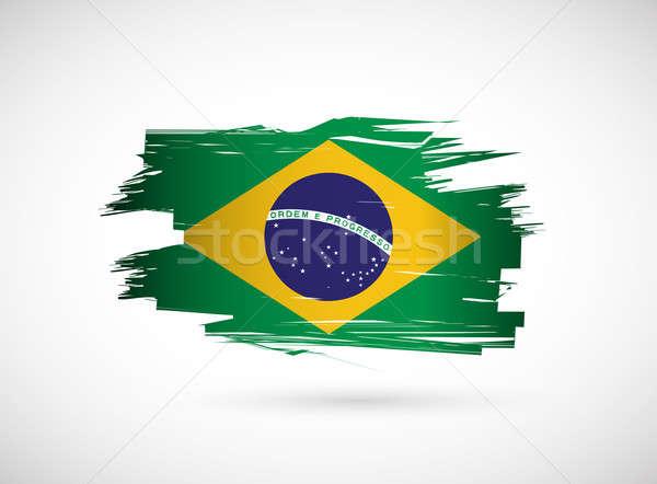 Brazil. Brazilian flag on white background Stock photo © alexmillos