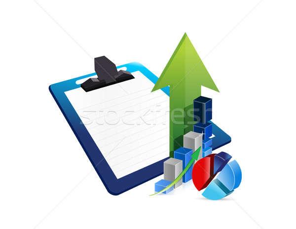 Vágólap üzlet profit illusztráció terv fehér Stock fotó © alexmillos