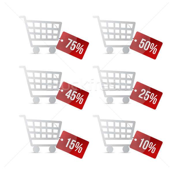 Foto stock: Supermercado · cesta · de · la · compra · descuento · etiquetas · ilustración · diseno