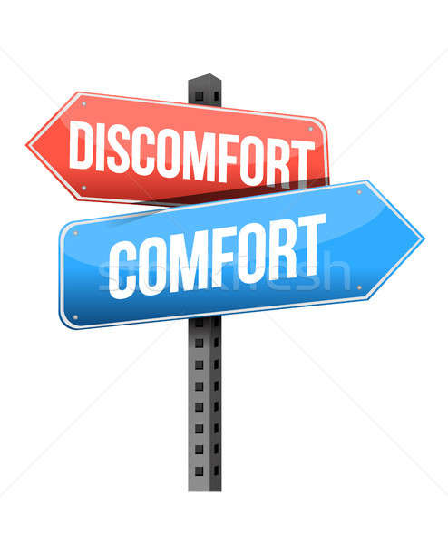 Desconforto conforto placa sinalizadora ilustração projeto branco Foto stock © alexmillos