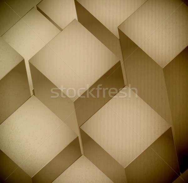 3d levels Cardboard Texture illustration design Stock photo © alexmillos