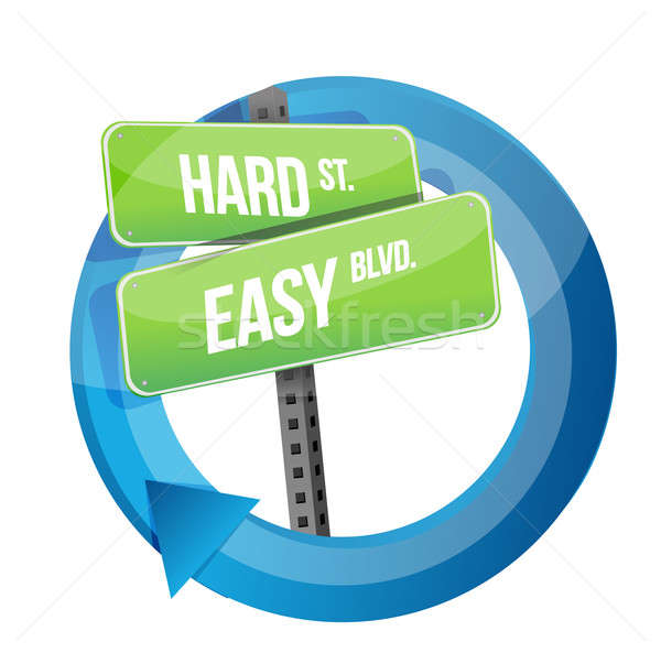 road sign choose between Hard Road or Easy. Stock photo © alexmillos