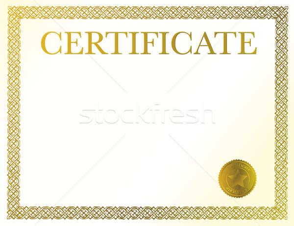 Bizonyítvány kész egyéni szöveg dícséret Stock fotó © alexmillos
