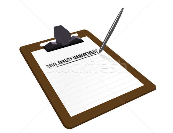 total quality management clipboard illustration design over whit Stock photo © alexmillos