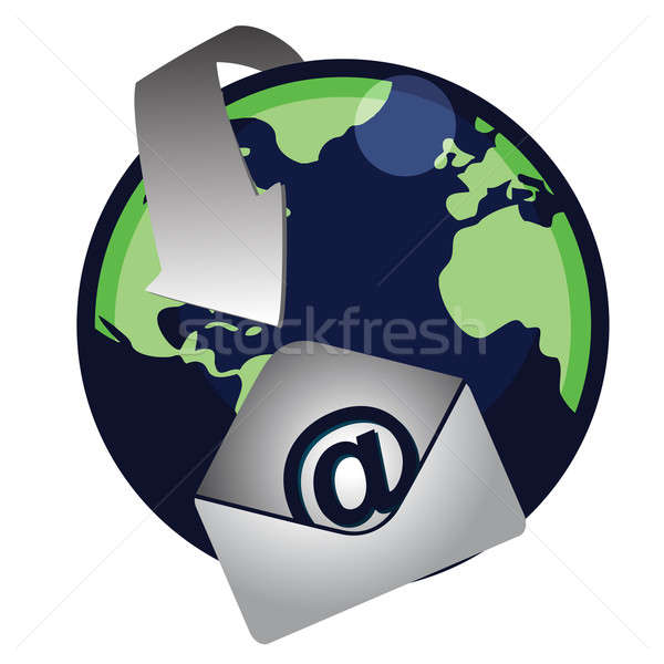 An illustration of a Global email. Vector File available. / Mail Stock photo © alexmillos